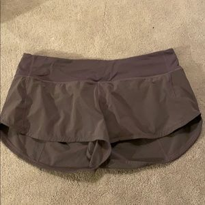 "gray/purple lululemon speed up shorts 2.5"" size 8"